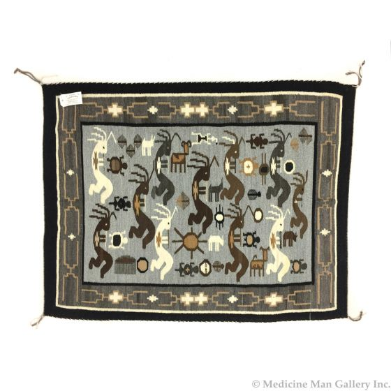 """Esther Etcitty - Navajo Two Grey Hills """"Kokopelli"""" Pictorial Rug"""