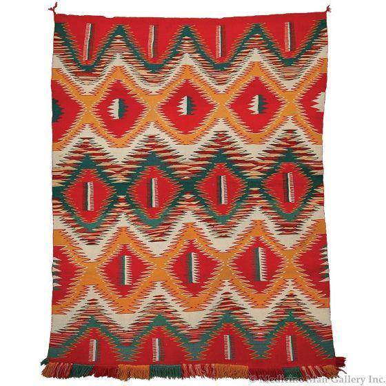 "Navajo Germantown Eyedazzler Blanket, circa 1890, 71"" x 57"""