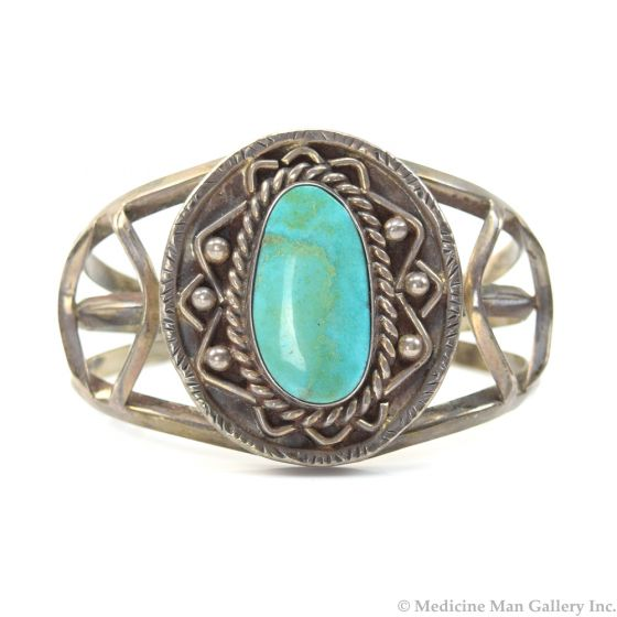 Carlos Diaz - Mexican Turquoise and Silver Bracelet c. 1960, size 6.25