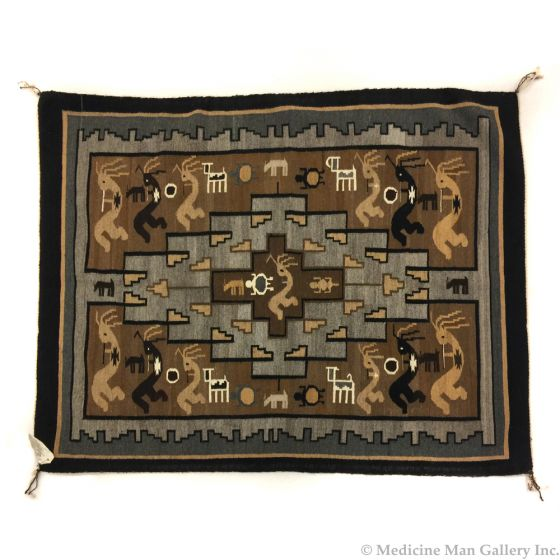 "Esther Etcitty - Navajo Two Grey Hills Rug with Kokopelli Figures, 46"" x 54"""
