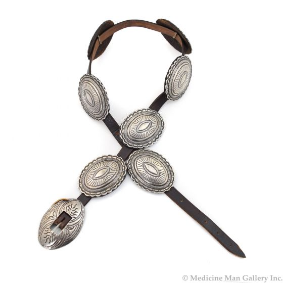 Navajo Silver and Leather Concho Belt c. 1920, 27-32""