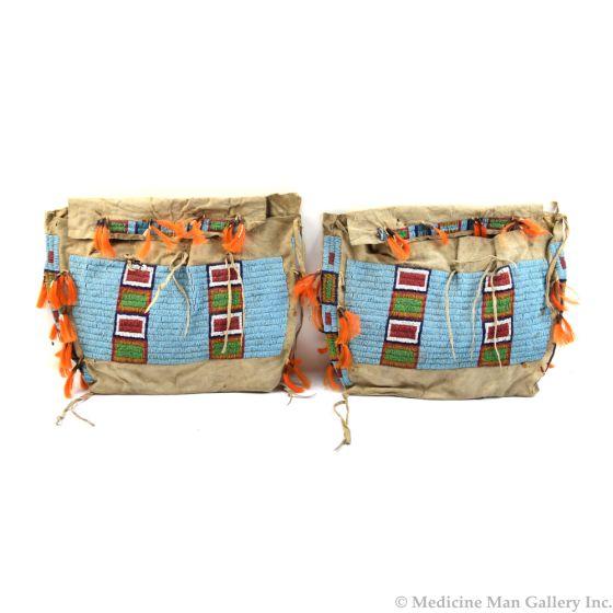 """Pair of Lakota Beaded Teepee Bags c. 1890, 14"""" x 17"""""""