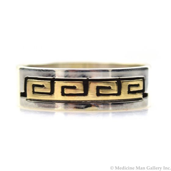 Dave Skeets - Navajo 14K Gold Overlay and Silver Ring with Spiral Designs, size 8.75