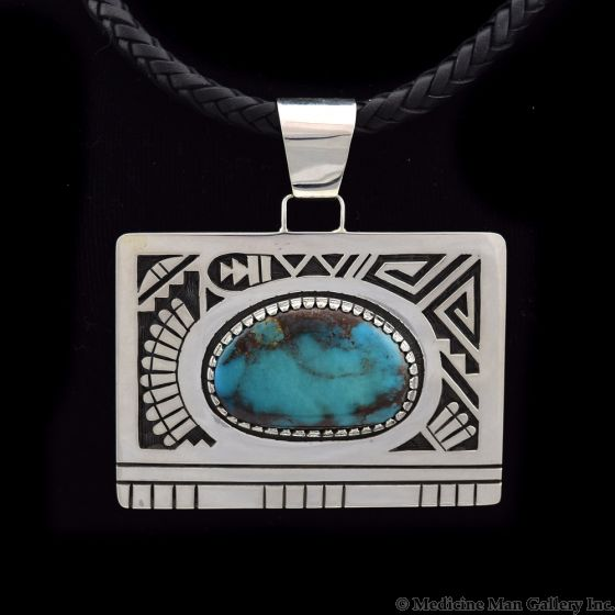 """Timmy Yazzie - Navajo/San Felipe Bisbee Turquoise and Sterling Silver Pendant with Braided Leather Cord, 2.5"""" x 2.75"""""""