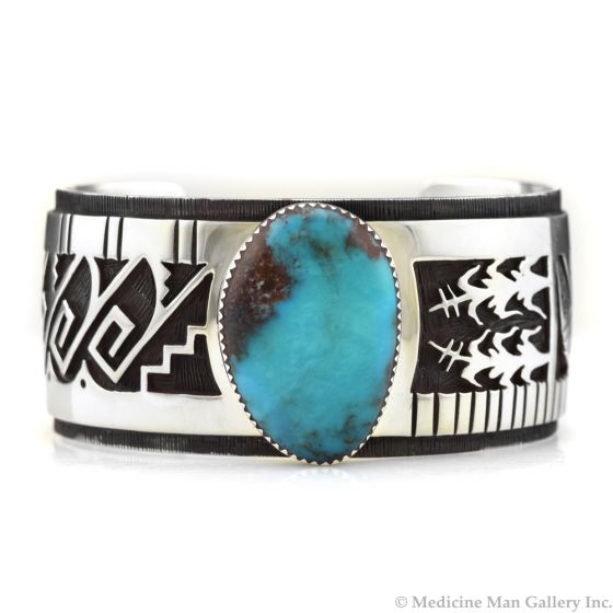 """Timmy Yazzie - Navajo/San Felipe Royston Turquoise and Sterling Silver Pendant, 2.5"""" x 1.25"""""""