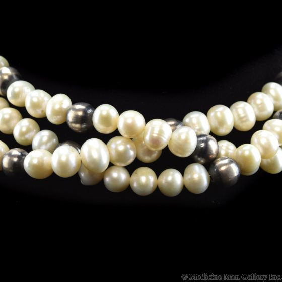 """Lawrence Baca - Freshwater Pearl and Two-toned Silver Beaded Necklace c. 2000, 16"""" length"""