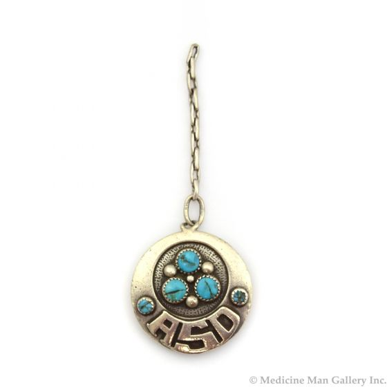"""Frank Patania, Sr. (1899-1964) and Thunderbird Shop - Turquoise and Sterling Silver Overlay Pendant on Chain with Initials """"ASD"""" dated 1950-60s, 1.25"""" Diameter (J91051-1018-036)1"""
