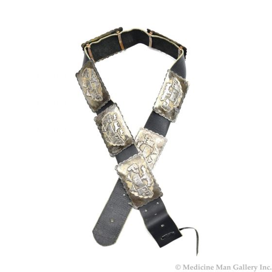 Navajo Silver and Leather Concho Belt with Pueblo Motifs c. 1970s, sizes 27-32