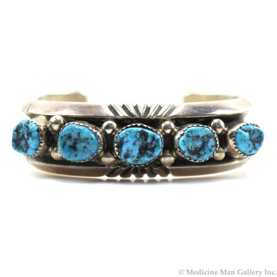Carolyn Begay - Navajo Turquoise and Silver Bracelet c. 1970-80s, size 6.25