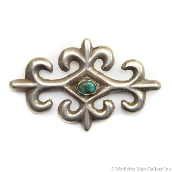 """Navajo Turquoise and Silver Sandcast Pin c. 1940s, 1.75"""" x 2.75"""""""