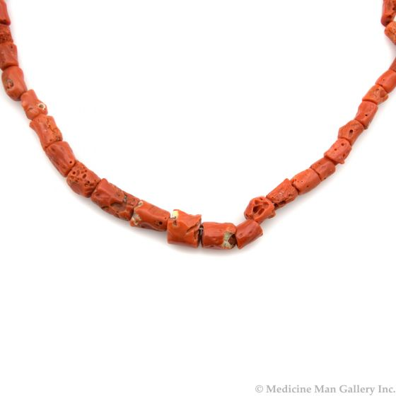 """Navajo Coral Beaded Necklace c. 1960s, 24"""" length"""