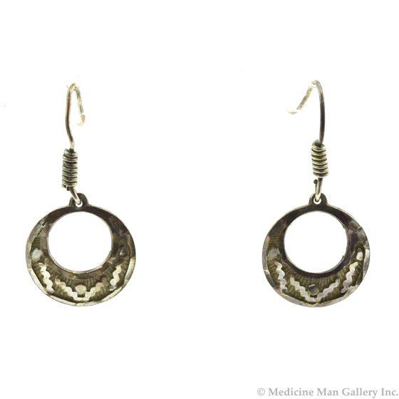 """Mexican Silver Hook Earrings, 1.5"""" x 0.75"""""""