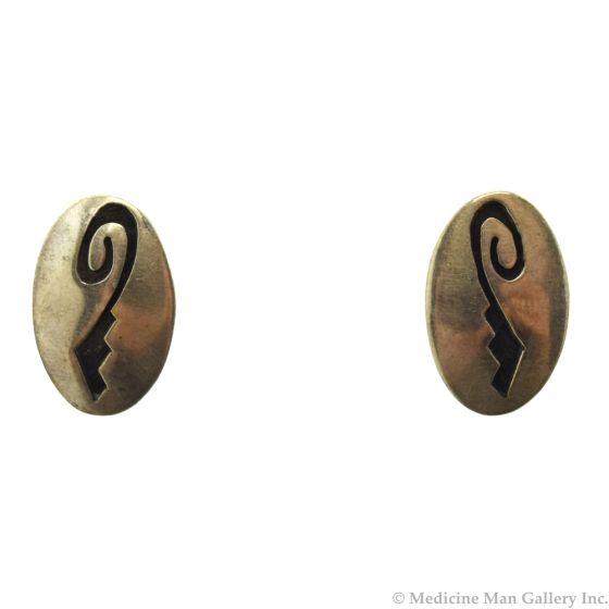 """Hopi Guild Sterling Silver Overlay Post Earrings c. 1960s, 1"""" x 0.625"""""""