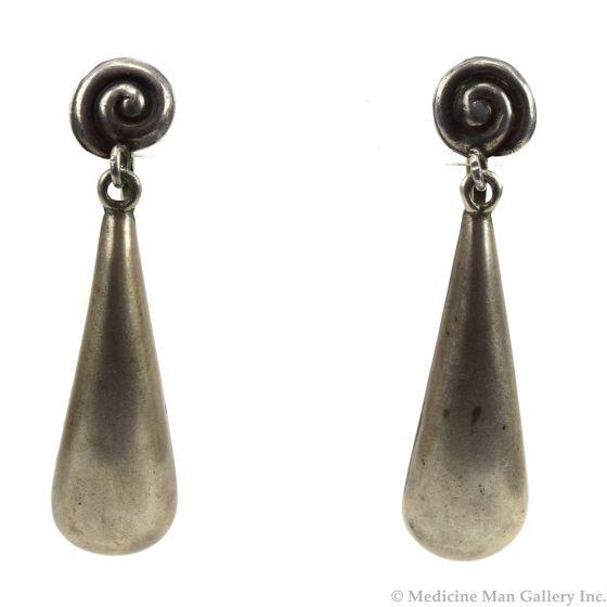 "Mexican Silver Screwback Earrings c. 1940s, 2.25"" x 0.5"""