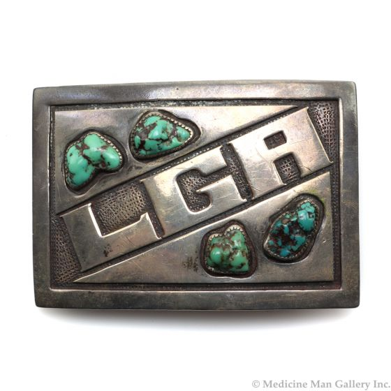 """Carmelo Patania (1902-1999) - Turquoise and Sterling Silver Belt Buckle c. 1960s, 2.25"""" x 3.25"""" (J1080l)"""