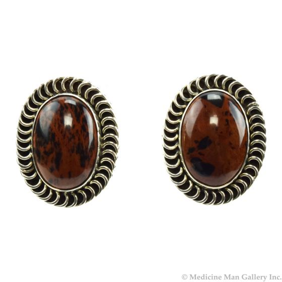 """Mexican Mahogany Obsidian and Silver Clip-on Earrings c. 1980s, 1.375"""" x 1"""""""