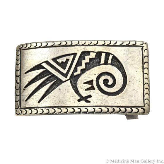 "McBride Lomayestewa (1932-2002) - Hopi Silver Overlay Belt Buckle with Bird Design c. 1950s, 1.25"" x 2.25"""