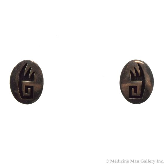 """Hopi Silver Overlay Earrings with Bear Paw Design c. 1960s, 0.5"""" x 0.625"""""""