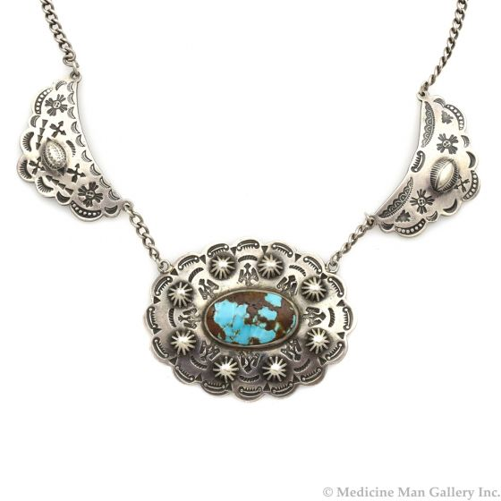 """Navajo Fred Harvey Style Turquoise and Silver Stamped Choker c. 1930s, 15"""" length"""