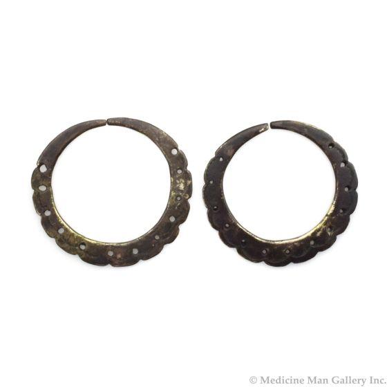 """Navajo Silver Hoop Earrings c. 1910-20s, 2"""" diameter"""