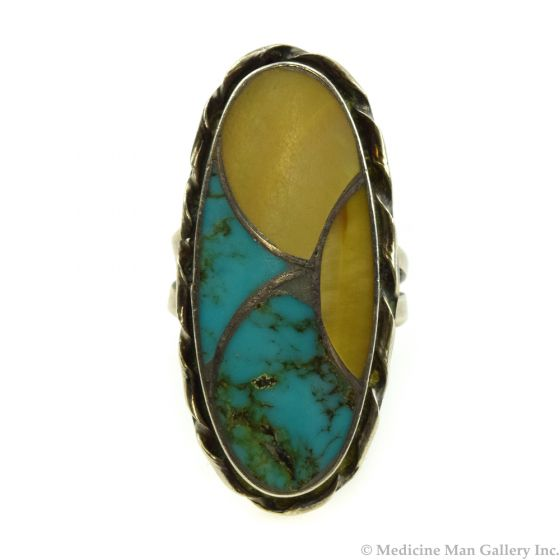 Nelson Lee - Zuni Turquoise and Mother of Pearl Channel Inlay and Silver Ring c. 1970s, size 6.5