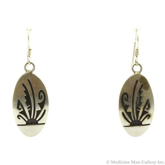"""Hopi Sterling Silver Overlay Hook Earrings c. 1980s, 1.5"""" x 0.5"""""""