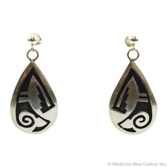 """Elsie Gashwazra - Hopi Sterling Silver Overlay Hook Earrings c. 1990s, 1.5"""" x 0.75"""""""