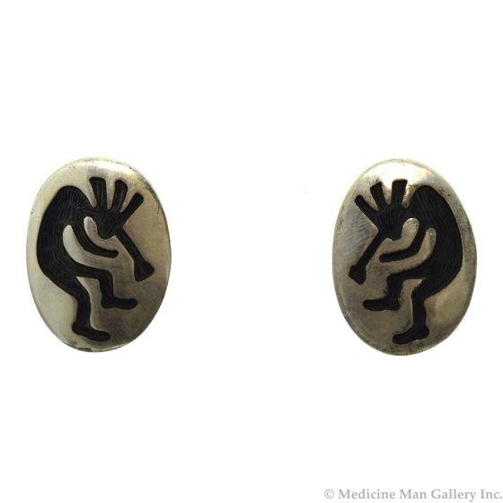"John Honie - Hopi Sterling Silver Kokopelli Post Earrings c. 1980s, 1"" x 0.75"""