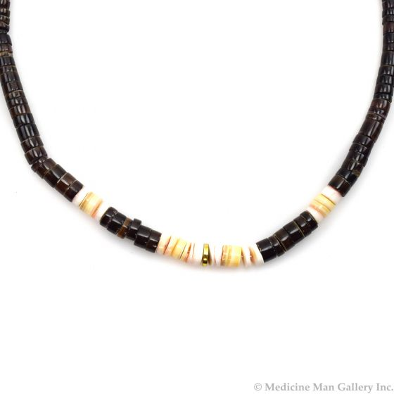 """Navajo Heishi and Silver Beaded Necklace c. 1970s, 18"""" length"""
