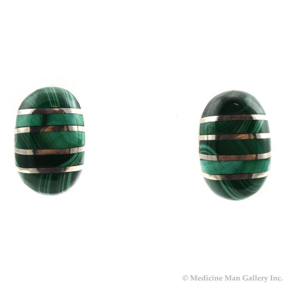 """Mexican Malachite Channel Inlay and Taxco Silver Post Earrings c. 1980s, 1"""" x 0.5"""""""