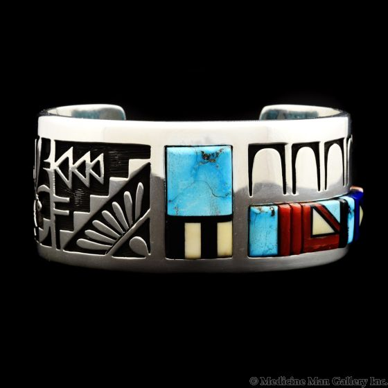 Timmy Yazzie - Contemporary Navajo Multi-Stone Inlay and Silver Overlay Bracelet with Dragonfly Designs, size 6.75