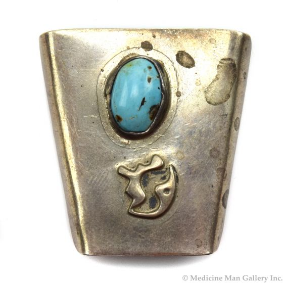 """Navajo Turquoise and Silver Bolo Tie c. 1970s, 1.625"""" x 1.25"""""""