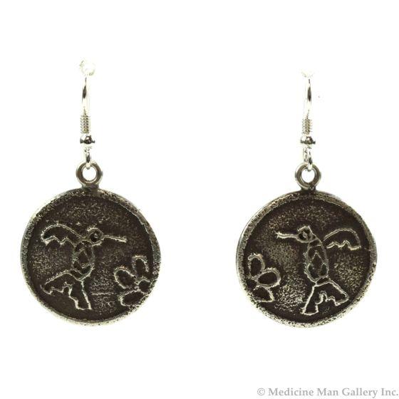 "Joel Pajarito - Santo Domingo Contemporary Silver Overlay Hook Earrings with Hummingbird Design, 1.75"" x 1.125"""