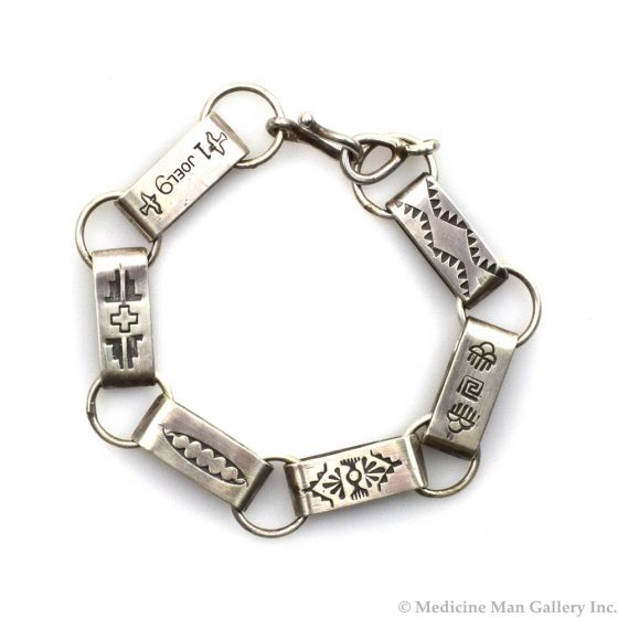 Joel Pajarito - Santo Domingo Contemporary Silver Chain Linked Bracelet with Stamped Designs, size 8