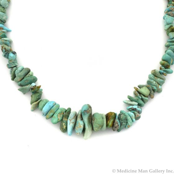 """Navajo Natural Turquoise Necklace c. 1960s, 26"""" length (J11824)"""