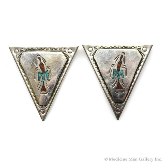 """Navajo Turquoise and Coral Chip Inlay and Silver Collar Tabs c. 1970s, 2"""" x 0.75"""" (J11836)"""