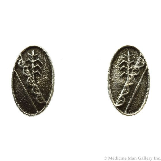 """Cordell Pajarito - Kewa Contemporary Silver Post Earrings with Cornstalk Design, 1.25"""" x 0.75"""" (J11977)"""