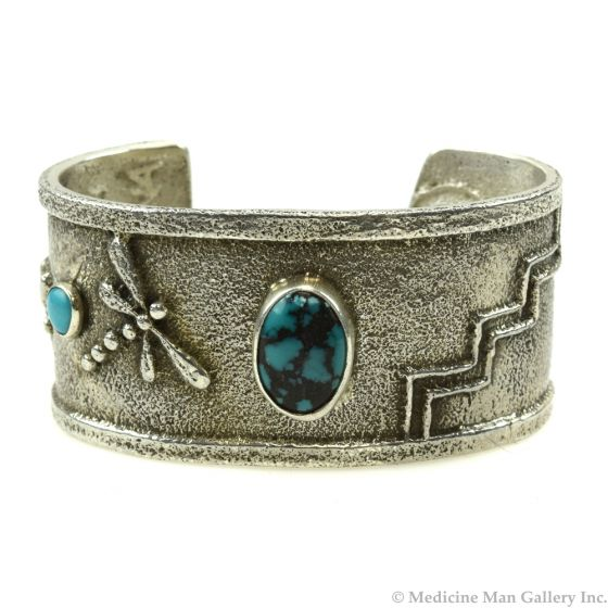 Cordell Pajarito - Kewa Contemporary Turquoise and Silver Bracelet with Dragonfly, Cornstalk, and Flower Design, size 6 (J11986)