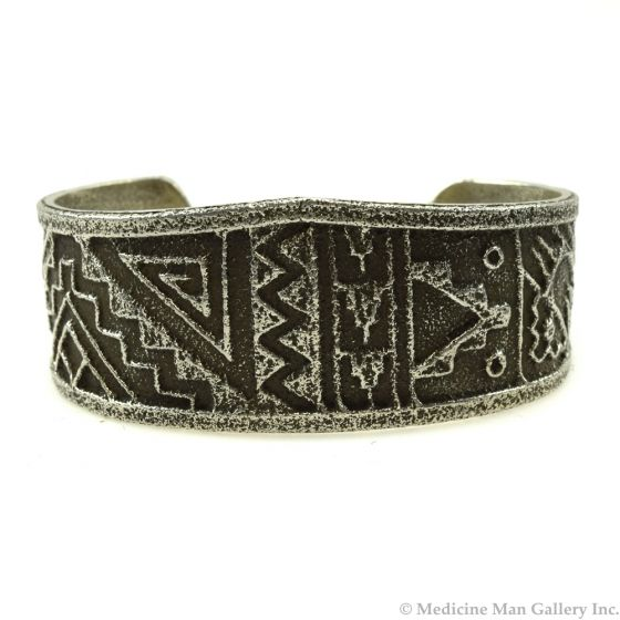 Cordell Pajarito - Kewa Contemporary Silver Bracelet with Lightning Design, size 6.25 (J11987)