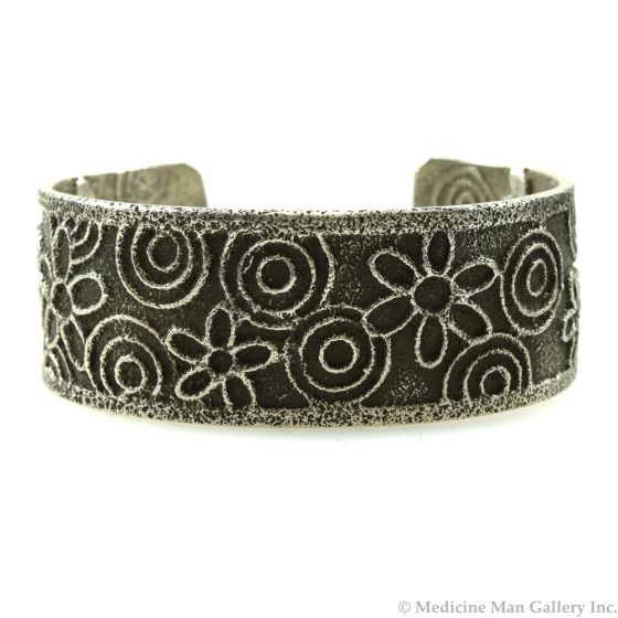 Cordell Pajarito - Kewa Contemporary Silver Bracelet with Flower Design, size 6.5 (J11988)