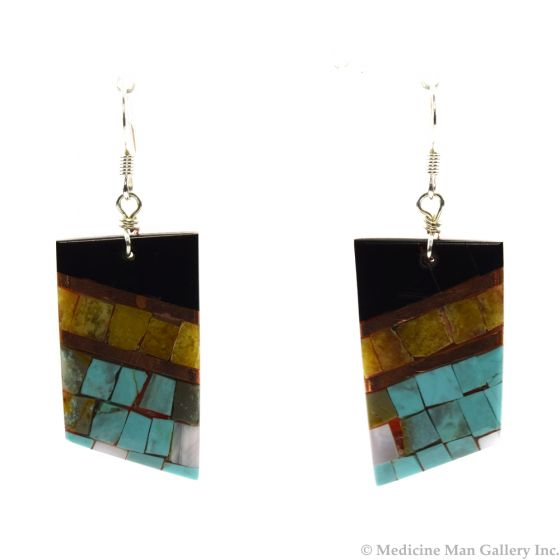 """Lory Melton - Santo Domingo Contemporary Multi-Stone Inlay Copper and Silver Hook Earrings, 2.875"""" x 0.875"""" (J12008)"""