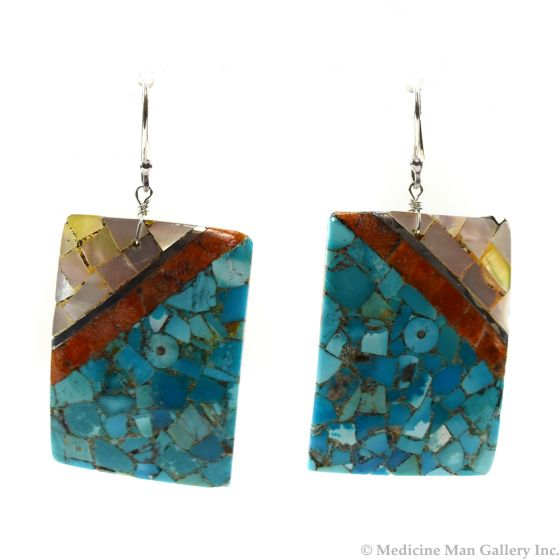 """Mary C. Aguilar - Santo Domingo Contemporary Multi-Stone Inlay and Silver Hook Earrings, 2.25"""" x 1.125"""" (J12014)"""