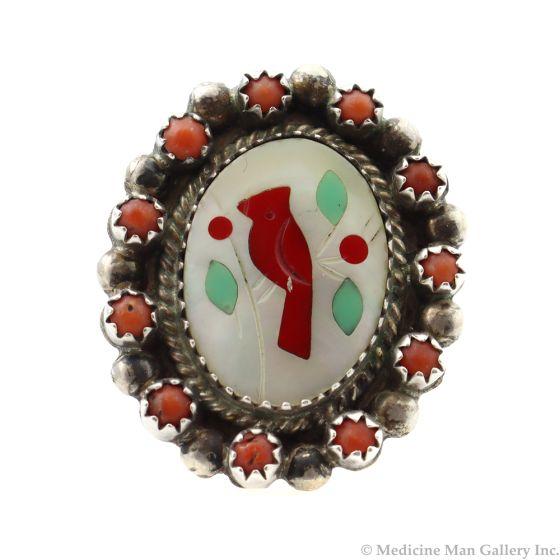 Antonio Yazzie - Navajo Multi-Stone Inlay and Silver Cardinal Ring c. 1980s, size 7 (J12049)