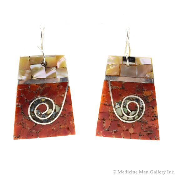 """Mary C. Lovato - Santo Domingo (Kewa) Contemporary Multi-Stone Chip Inlay and Silver Hook Earrings with Spiral Design, 1.875"""" x 1.25"""" (J12059)"""