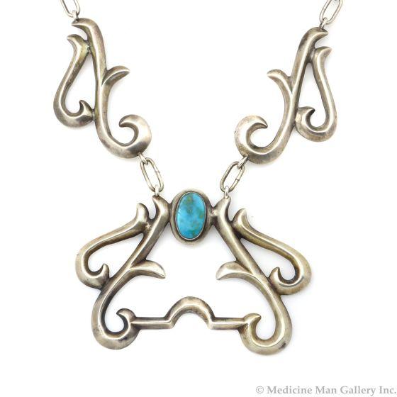 "Navajo Guild Blue Gem Turquoise and Silver Sandcast Necklace c. 1930-40s, 14"" length (J12063)"