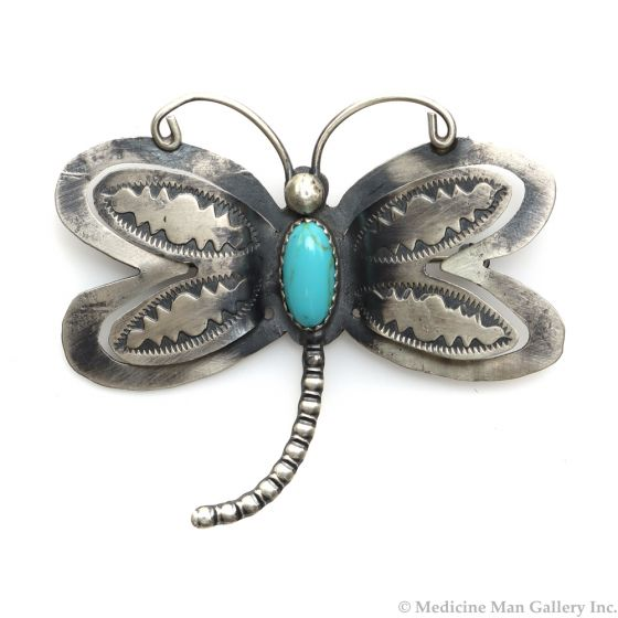 """Navajo Turquoise and Silver Dragonfly Pin c. 1980s, 2"""" x 2.25"""" (J12123)"""