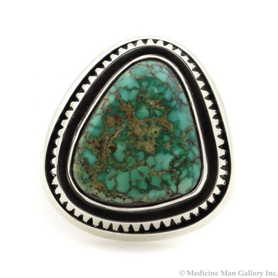 Leonard Nez - Navajo Contemporary Carico Lake Turquoise and Sterling Silver Ring, size 7 (J12160)