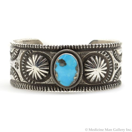 Chris Billie - Navajo Contemporary Morenci Turquoise and Sterling Silver Bracelet with Stamped Designs, size 6.75 (J12166)