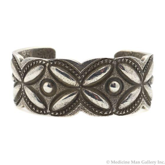 Chris Billie - Navajo Contemporary Sterling Silver Bracelet with Stamped Design, size 6.75 (J12167)