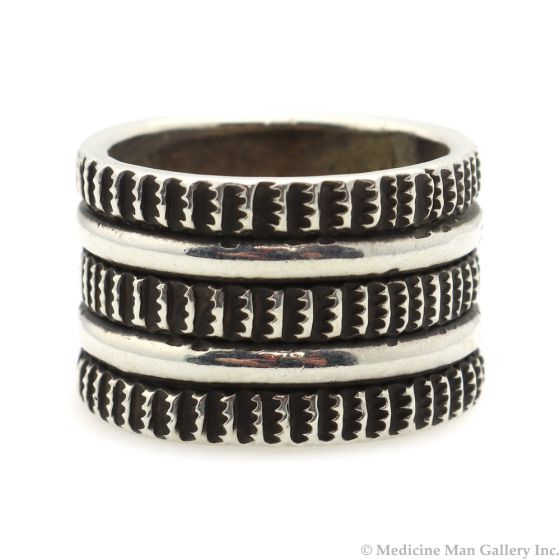 Chris Billie - Navajo Contemporary Sterling Silver Ring, size 8.25 (J12174)